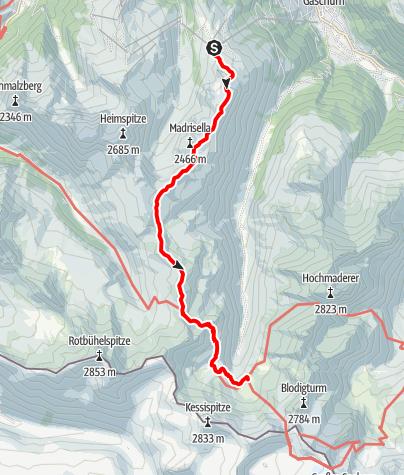 Karte / Zustieg Tübinger Hütte von Bergstation Versettlagrat