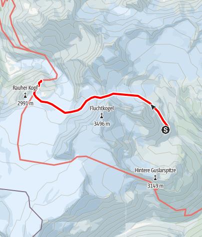 Map / Übergang Vernagthütte zur Rauhekopfhütte