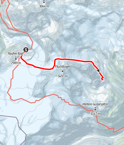 Karte / Übergang Rauhekopfhütte zur Vernagthütte