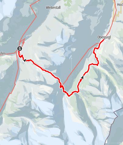 Karte / Europäischer Fernwanderweg - E5 – Königsetappe – Von Vent nach Obergurgl (Alternativroute)