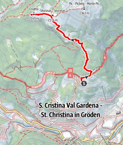 """Karte / """"Burning Dolomites"""" von der Aussichtsterrasse """"Sëurasas"""""""