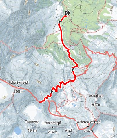 Map / Zustieg von Kolm Saigurn zur Rojacher Hütte