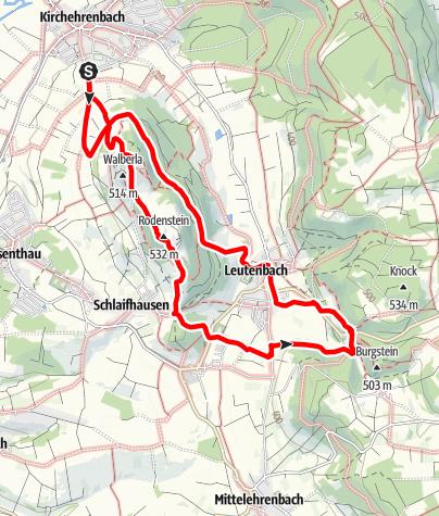 Karte / Rundwanderung: Übers Walberla von Kirchehrenbach nach Leutenbach