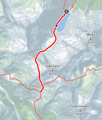Karte / Übergang von der Rotgüldenseehütte zur Kattowitzer Hütte