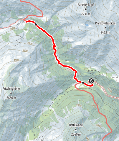 Karte / Zustieg von Muritzen zur Sticklerhütte