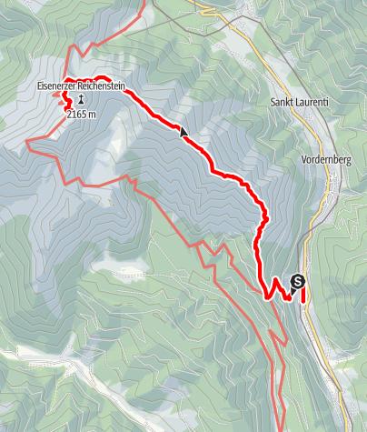 Karte / Zustieg von Vordernberg über den Grete Klinger Steig zur Reichensteinhütte
