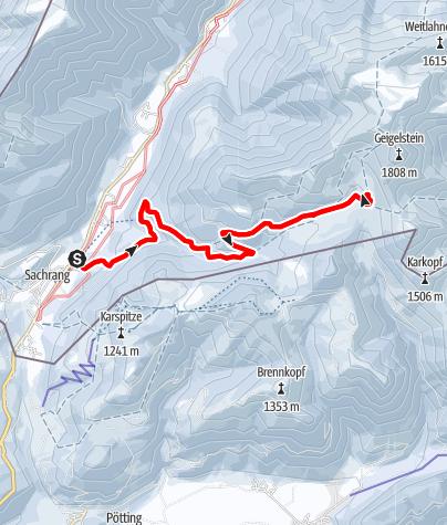 Karte / Winterwandertour zur Priener Hütte am Geigelstein - Bergsteigerdorf Sachrang