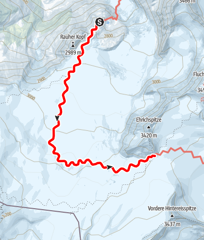 Karte / Übergang Rauhekopfhütte zum Brandenburger Haus