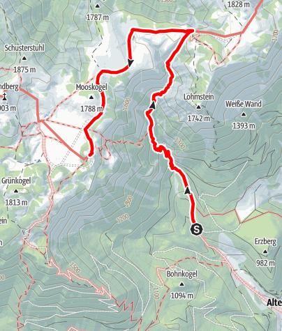 Karte / Zustieg von Altenberg zum Schneealpenhaus (Almgraben)