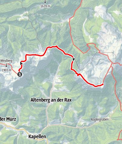 Map / Übergang vom Schneealpenhaus zum Karl Ludwig Haus