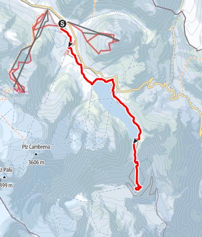 Karte / Skiwanderung mit Backcountryski über die Berninapasshöhe