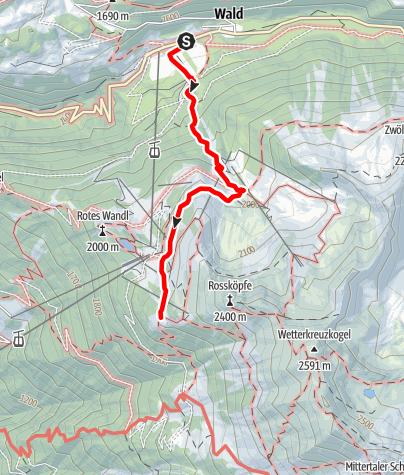 Karte / Zustieg Bielefelder Hütte von Ochsengarten