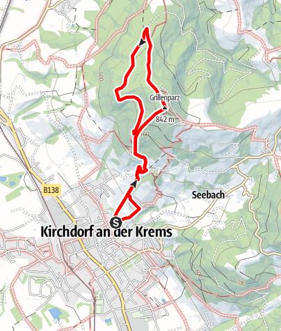 Karte / Grillenparz 842m von Kirchdorf an der Krems