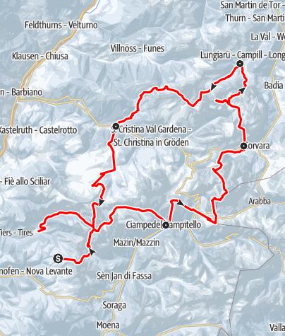 Karte / Mit Ski durch die Dolomiten
