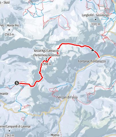Map / Mit Ski durch die Dolomiten - Etappe 1: Von Tiers durch den Rosengarten ins Val di Fassa