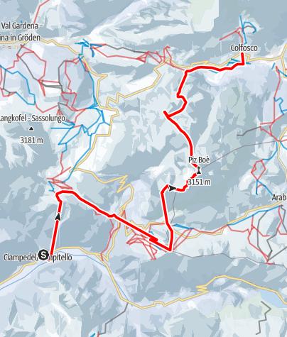 Map / Mit Ski durch die Dolomiten - Etappe 2: Vom Val di Fassa über die Sella nach Kolfuschg