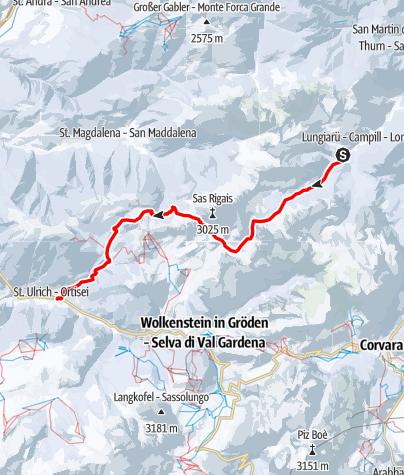 Map / Mit Ski durch die Dolomiten - Etappe 4: Von Campill durch die Geislgergruppe ins Grödnertal