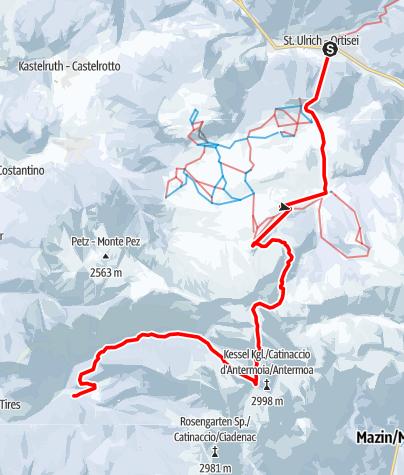 Map / Mit Ski durch die Dolomiten - Etappe 5: Vom Grödnertal durch den Rosengarten nach Tiers
