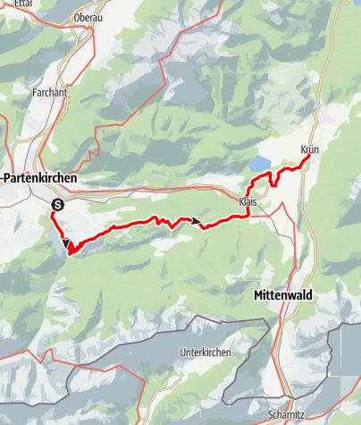 Karte / Spitzenwanderweg Etappe von Garmisch-Partenkirchen nach Krün