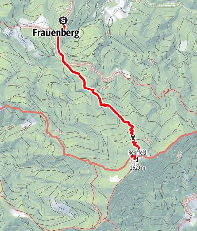 Karte / Zustieg von Frauenberg zum Ottokar-Kernstock-Haus auf dem Rennfeld