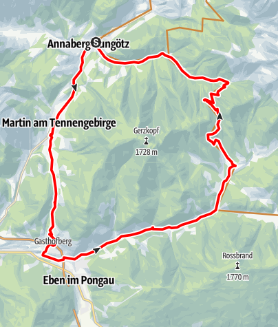Karte / Annaberg - Lungötz: Neubachtal Route