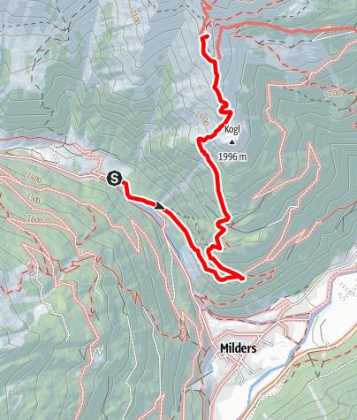 Karte / Zustieg Starkenburger Hütte von Milders/ Bärenbad