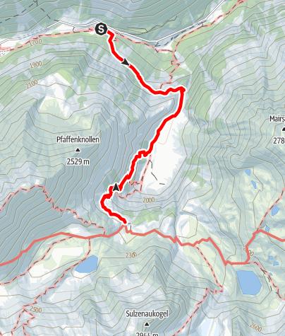 Karte / Aufstieg zur Sulzenauhütte