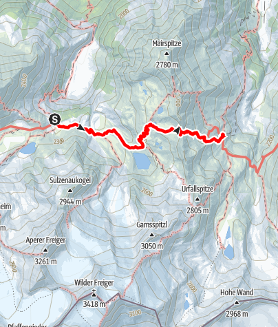 Karte / Von der Sulzenauhütte zur Nürnberger Hütte