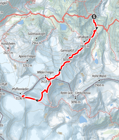 Karte / Von der Nürnberger Hütte auf den Wilden Freiger und weiter zur Müllerhütte