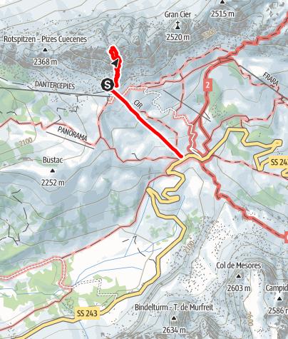 Karte / Vom Grödner Joch mittels Klettersteig auf die Cir V Spitze