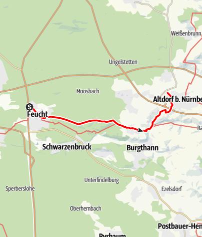 Karte / Zeidlerweg: Feucht (S-Bahn) - Altenthann - Altdorf (S-Bahn West)