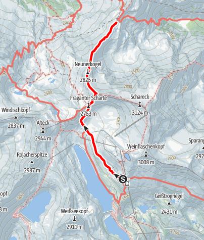 Karte / Übergang Duisburger Hütte zum Niedersachsenhaus