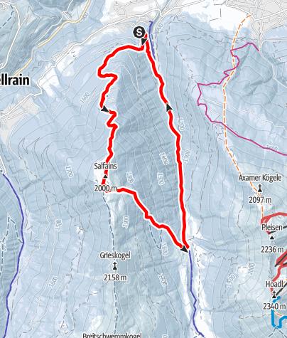 Karte / Salfeins (2000m) über Figl