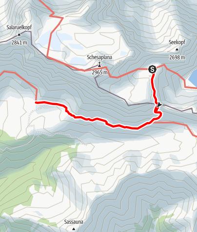Karte / Übergang von der Totalphütte zur Schesaplanahütte (Gamsluggen)