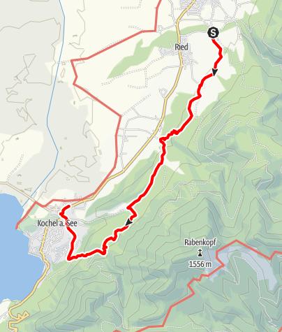 Karte / Über Höhenweg und Lainbachwasserfälle nach Kochel am See