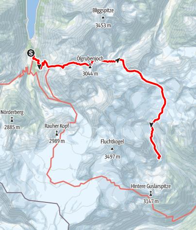 Karte / Übergang Gepatschhaus zur Vernagthütte