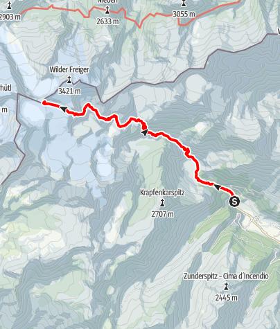 Karte / Zustieg zur Müllerhütte vom Ridnauntal