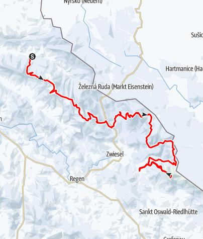 Karte / Mit Backcountryski auf dem Kamm des Bayerischen Walds