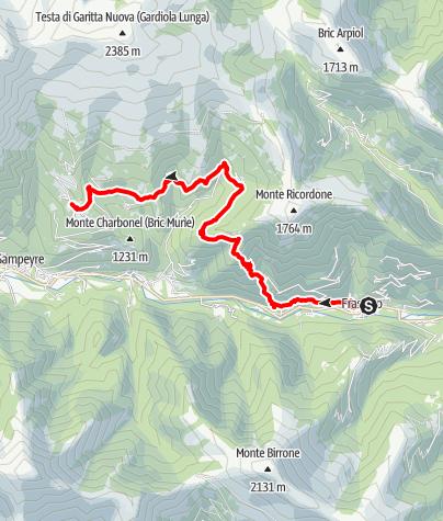 Karte / Valle Varaita Trekk 3. Etappe: Frassino-Becetto