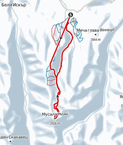 Karte / Musala (2.925 m) - Skitour auf den höchsten Berg des Balkan