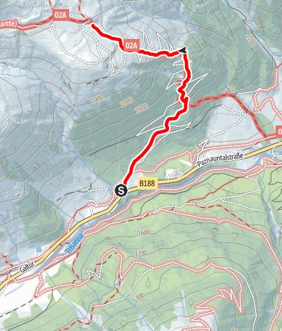 Karte / Zustieg Friedrichshafener Hütte von Mathon/ Piel