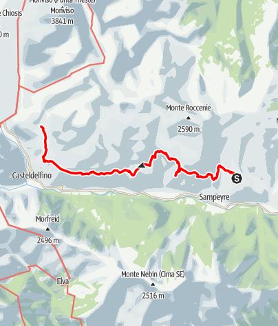 Karte / Valle Varaita Trekk 4. Etappe: Becetto - Rifugio Bagnour