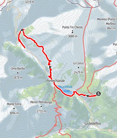 Karte / Valle Varaita Trekk 5. Etappe: Rifugio (Berghütte) Bagnour - Chianale