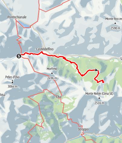 Karte / Valle Varaita Trekk 7. Etappe: Borgata Chiesa - Rifugio (Berghütte) Meira Garneri