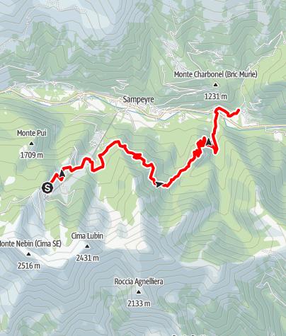 Karte / Valle Varaita Trekk 8. Etappe: Rifugio (Berghütte) Meira Garneri - Rore