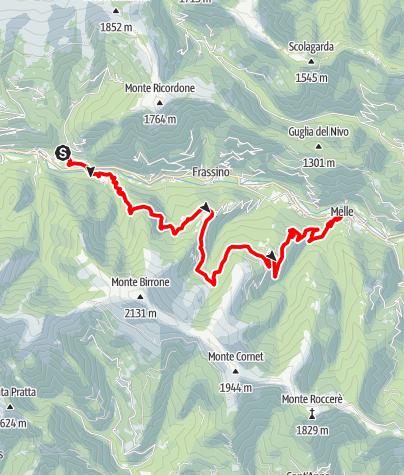 Karte / Valle Varaita Trekk 9. Etappe: Rore - Melle
