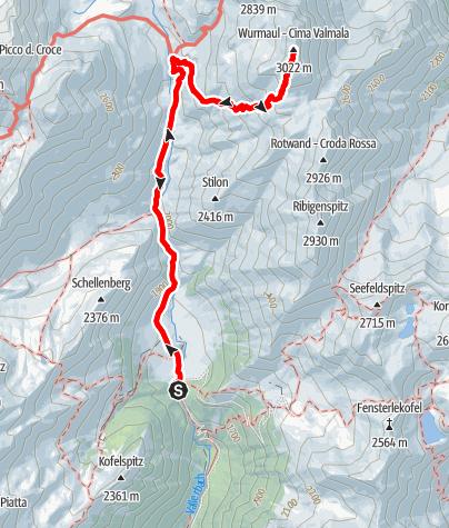 Karte / Bergtour auf die Wurmaulspitze