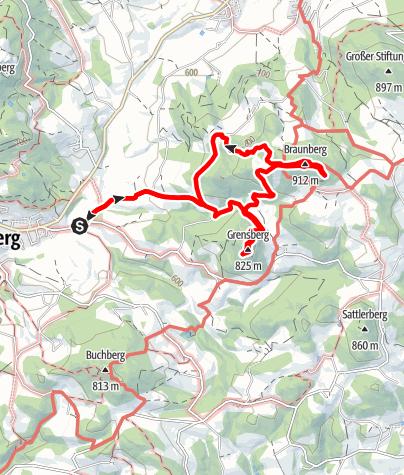 Karte / Gipfelkreuzsegnung Grensberg und Bergmesse Braunberg