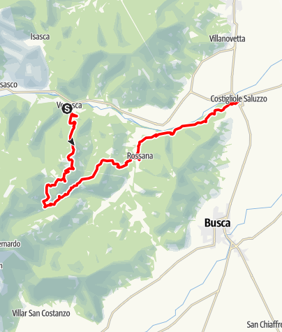 Karte / Valle Varaita Trekk 12. Etappe: Venasca - Costigliole Saluzzo