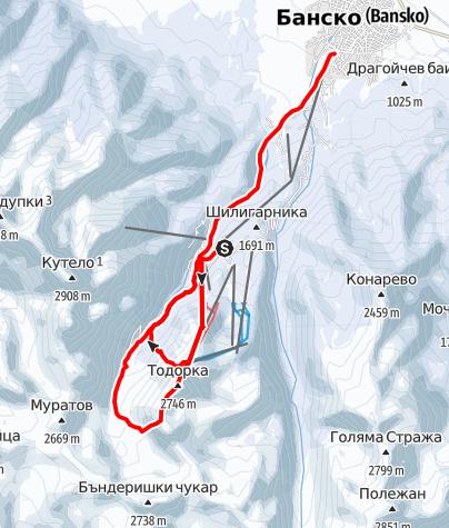 Karte / Todorka (2.746 m) - Freeridemekka in Bulgarien